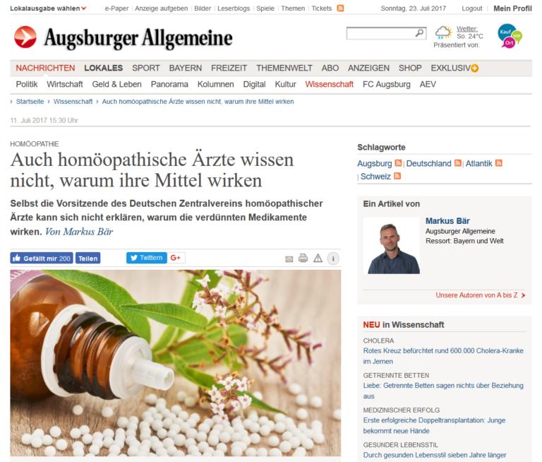 Frau Bajic verteidigt die Homöopathie in der Augsburger